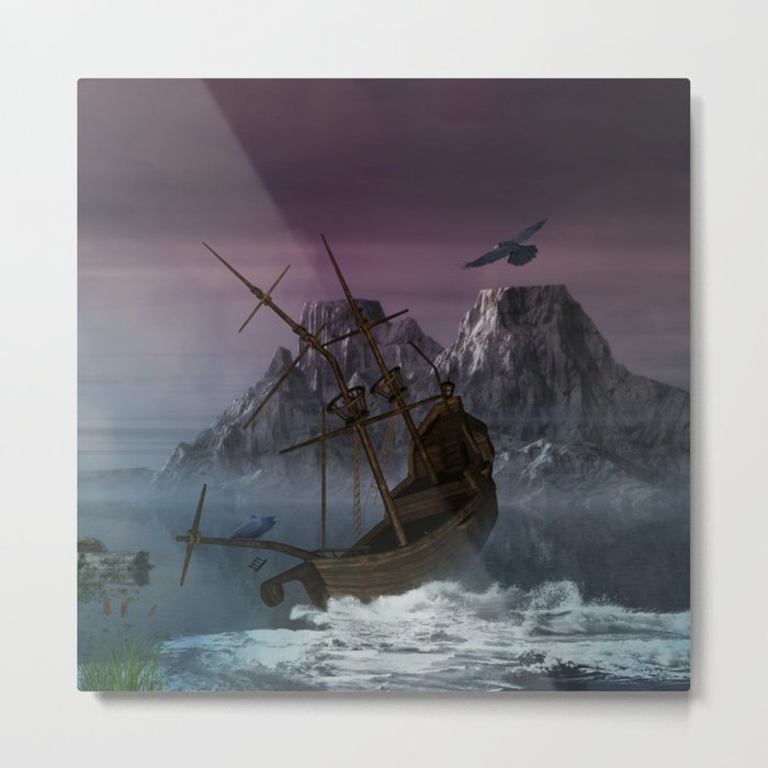 Awesome shipwreck in the night Metal Print