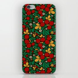 Strawberry pattern in traditional russian style hohloma khohloma iPhone Skin
