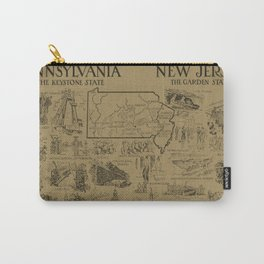 Vintage NJ and Pennsylvania Illustrative Map (1912) - Tan Carry-All Pouch