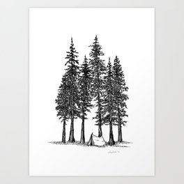 Camping with giants Art Print