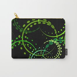 Bright curls and circles of green shades on a black background. Carry-All Pouch