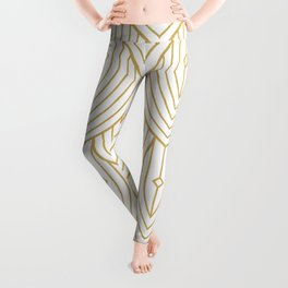 Gold and white art-deco pattern Leggings