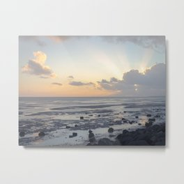 Sunset above the ocean with sun rays through the Clouds | Landscape Photography art print  Metal Print