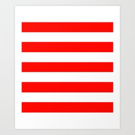 Candy apple red - solid color - white stripes pattern Art Print