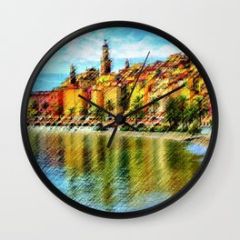 Cote d'azur, Menton France at Morning Landscape Painting by Jeanpaul Ferro Wall Clock