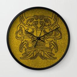Vicious Tribal Mask Black Golden glimmer 04 Wall Clock