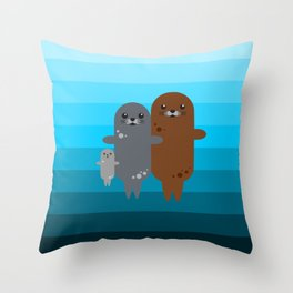 Happy Seal Family Throw Pillow