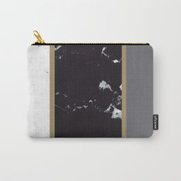 Marble Mix Stripes #1 #black #white #gray #gold #decor #art #society6 Carry-All Pouch