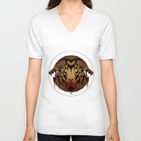 wildlife V-neck T-shirts featuring wildlife unleashed by Christophe Chiozzi