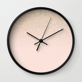 Elegant Girly Gold Rose Pink Glitter Ombre Wall Clock