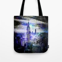 new york skyline Tote Bags featuring New York Skyline by haroulita