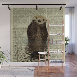 Otter in Love Wall Mural