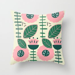 Modern flowers and leaves Throw Pillow