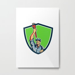 Plumber Raising Up Monkey Wrench Shield Retro Metal Print