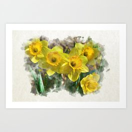 Watercolor Daffodils Art Print
