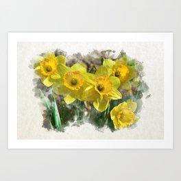 Watercolor Daffodils Art Print