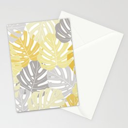 Yellow monstera deliciosa leaves Stationery Cards