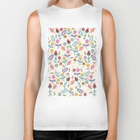 flowers Biker Tanks featuring Ditsy Flowers by Poppy & Red