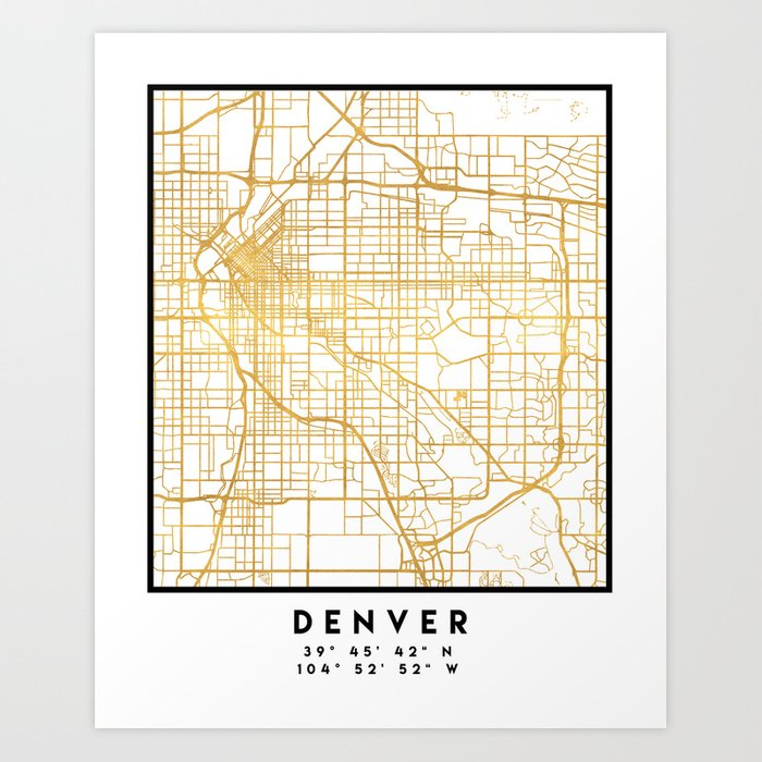 Colorado Map Art.Denver Colorado City Street Map Art Art Print By Deificusart Society6