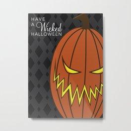 Wicked Halloween Jack-o-Latern Metal Print