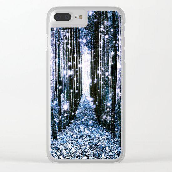 Magical Forest Dark Blue Elegance Clear iPhone Case