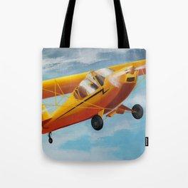 Yellow Plane, Blue Sky Tote Bag