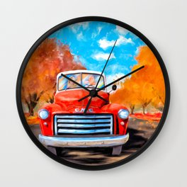 Old Red Truck On A Clear Fall Day Wall Clock