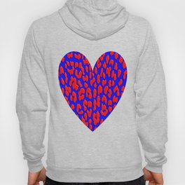 Bright Blue & Red Leopard Print Hoody