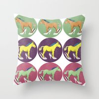 horses Throw Pillows featuring Horses by Bluetiz