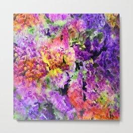 Elegant Rainbow Floral Abstract Metal Print