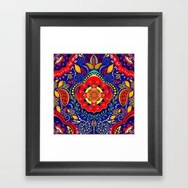 Bono Fantasy Pattern Red and Blue Framed Art Print