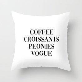coffee croissants peonies Throw Pillow