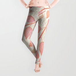 Coral Pink Leaves On Gold Leggings
