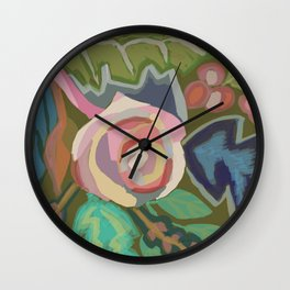 Organic abstract floral Wall Clock