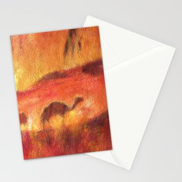 Oasis with camels in Sahara. Desert animals Stationery Cards