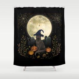 The Black Cat on Halloween Night Shower Curtain