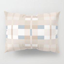 Beige and Blue Color Blocks Geometric Pattern Pillow Sham