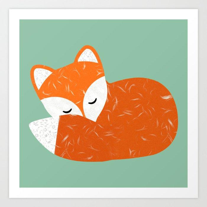 Cute Sleeping Fox Art Print By Claudiaschoen Society6