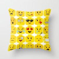 emoji Throw Pillows featuring Emoji-Minifigure by Raddington Falls