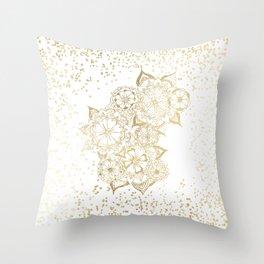 Hand drawn white and gold mandala confetti motif Throw Pillow