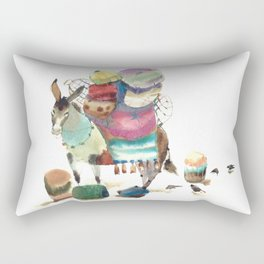 Watercolor cute donkey kids illustration Rectangular Pillow