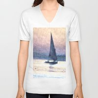 water colour V-neck T-shirts featuring Felucca Water Colour by Brian Raggatt