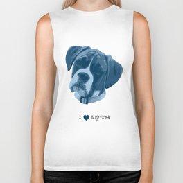 I love my dog - Boxer, blue Biker Tank