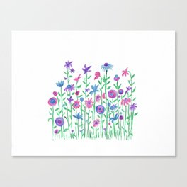 Cheerful spring flowers watercolor Canvas Print