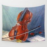 violin Wall Tapestries featuring Violín/Violin by J. Castro Dopico