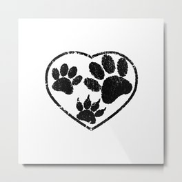 Rubber Stamped Heart And Pet Paw Prints Metal Print