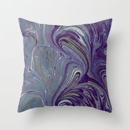 Purple, Blue, & Green Marbled Throw Pillow