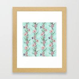 Japanese Garden - cherry blossom and anemones Framed Art Print
