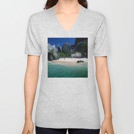 Seychelles Islands Breathtaking White Sand Beach and Boulders Unisex V-Neck