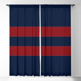 Navy Two Red Horizontal Bars Blackout Curtain